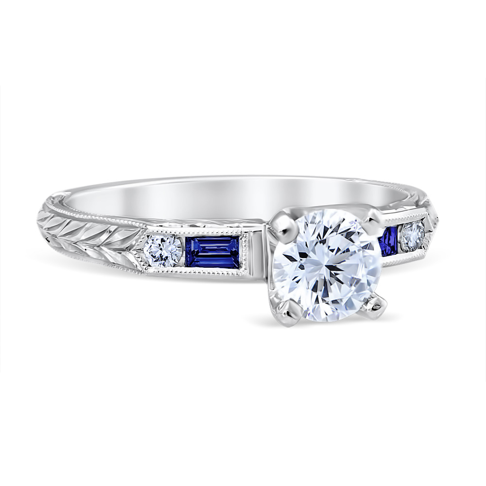 Lucia Sapphire 14K White Gold Engagement Ring