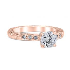 14k rose gold engraved solitaire engagement ring.