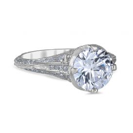 Angelina 14K White Gold Engagement Ring with 1.51 Carat Cushion Diamond