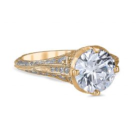 Angelina 14K Yellow Gold Engagement Ring with 1.5 Carat Round Diamond