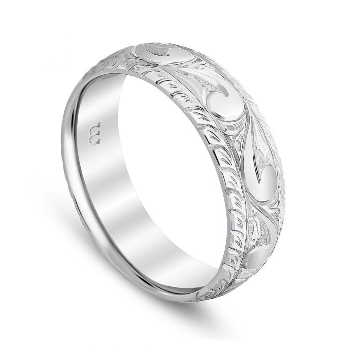 Cut Corner Western Style Men's Band 14K White Gold