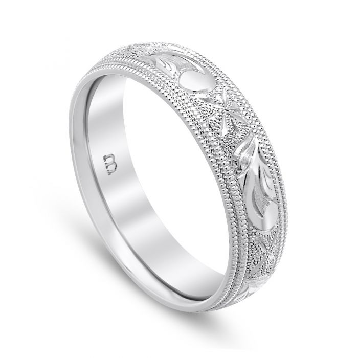 Scroll and Star Men's Band 18K White Gold